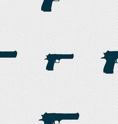 Gun icon sign seamless pattern with geometric vector