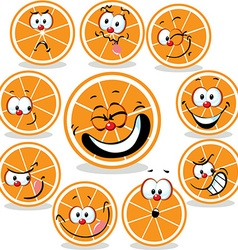 Orange icon cartoon with funny faces isolated on vector