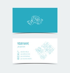 Engineering card 3d drawing blue color vector