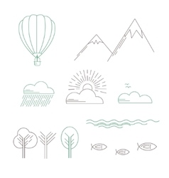 Linear landscape icons vector