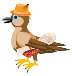 Gray sparrow in hat vector