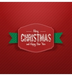 Christmas paper greeting red card and green ribbon vector
