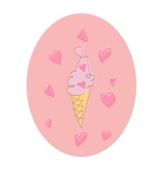 Valentine day love ice cream doodle vector