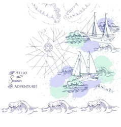 Background with ships and waves vector image