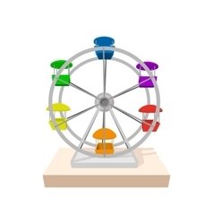 Ferris wheel cartoon icon vector