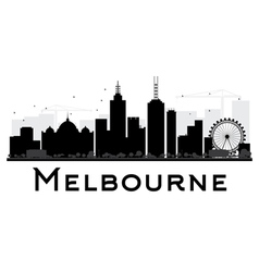 Melbourne city skyline black and white silhouette vector