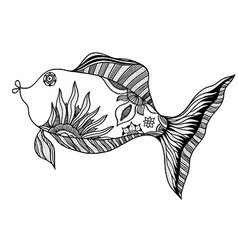 Fish with floral elements vector