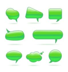Abstract glass green speech bubbles set vector