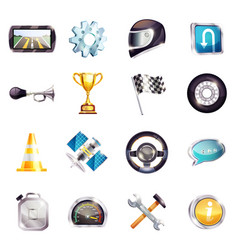 Auto racing elements set vector