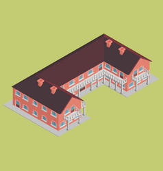 Brick building hotel with brown roof isometric vector