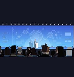 businessman leading presentation showing charts vector image vector image