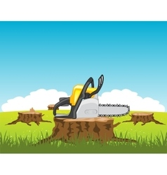 Chainsaw on stump tree vector