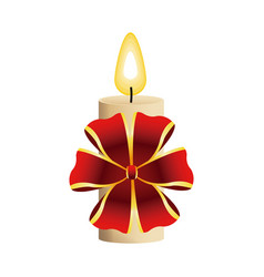 Christmas candle burning with red bow decoration vector