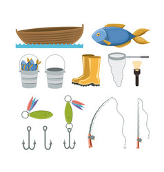 Colorful set collection elements to fishing vector