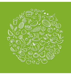 doodle healthy food icons vector image