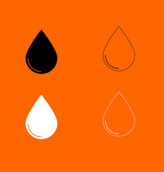 Drop black and white set icon vector