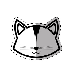 face cat animal domestic furry dot line shadow vector image