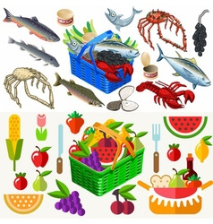 Food set fish and vegetables 3d isometric vector