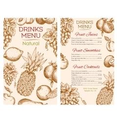 Fruit juice drinks menu of sketch fruits vector