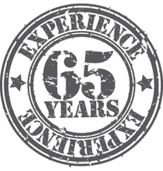 Grunge 65 years of experience rubber stamp vector image