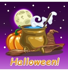 Halloween card magic set of witch vector image vector image