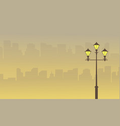 Landscape town with street lamp silhouettes vector