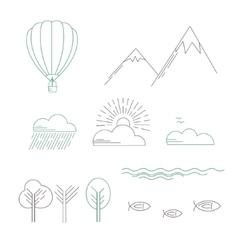 Linear landscape icons vector