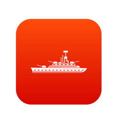 military warship icon digital red vector image vector image