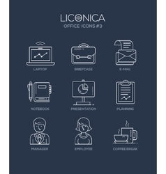 Modern office and business line flat design icons vector image