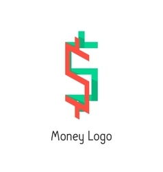 money logotype with colored dollar sign vector image