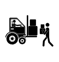 Monochrome pictogram with forklift truck with vector