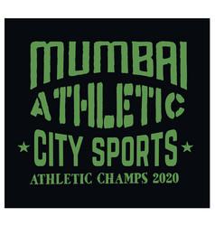 mumbai sport t-shirt design vector image
