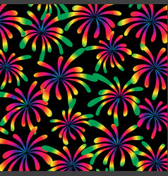 rainbow fireworks on black vector image vector image