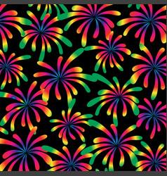 Rainbow fireworks on black vector