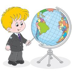 Schoolboy and globe vector