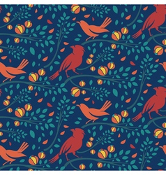 Seamless pattern of spring birds in branches with vector image vector image