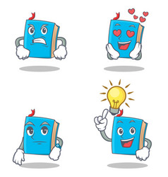 Set of blue book character with angry love waiting vector