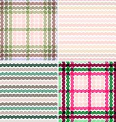 Set Wave tartan gradient background seamless vector image