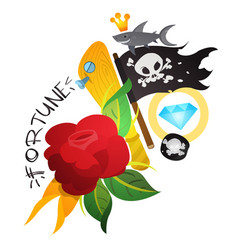 sketch of tattoo with a dagger and roses for vector image