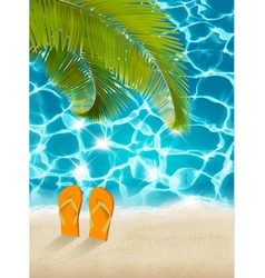 Vacation background Beach with palm trees and blue vector image