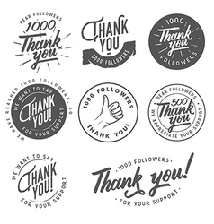 Vintage thank you badges labels and stickers vector
