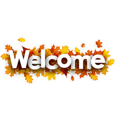 Welcome banner with golden leaves vector