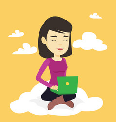 woman using cloud computing technology vector image vector image