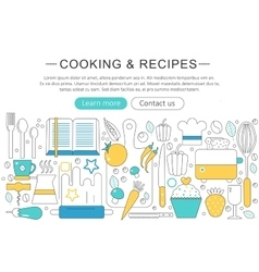 Elegant thin line flat modern cooking and vector