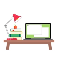 Workspace with laptop lamp and books vector