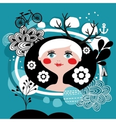 Creative portrait of blond girl from scandinavia vector