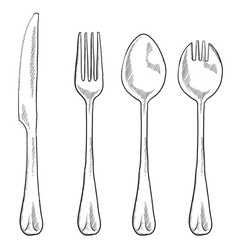 Doodle eating utensils vector