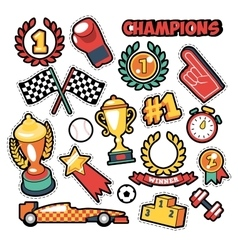 Fashion badges patches stickers champions theme vector