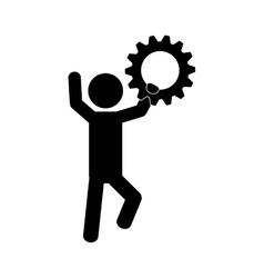 Man and gear icon vector