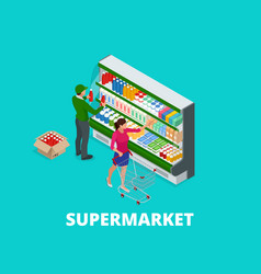 Woman shopping milk in grocery store isometric vector